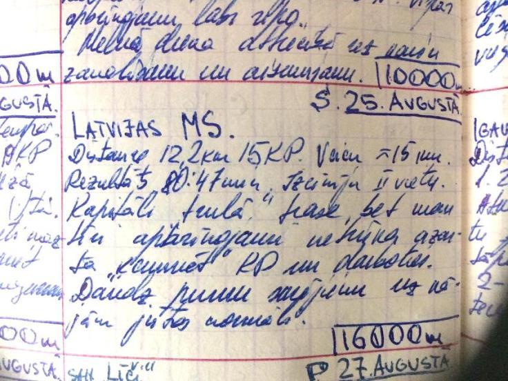 G.Dukšte - trenniņ dienasgrāmatas ieraksts 1973